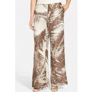 lafayette 148 palm slits nwt raffia tropical linen new nwt pants